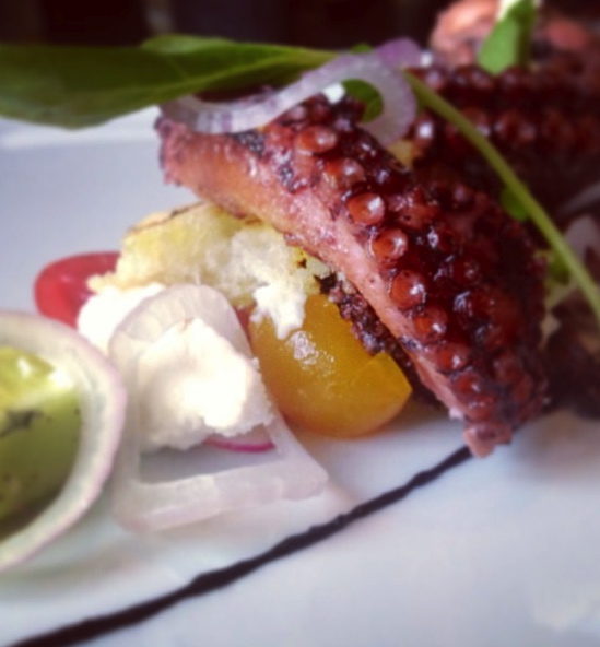 "Charred octopus ""Greek"" salad"